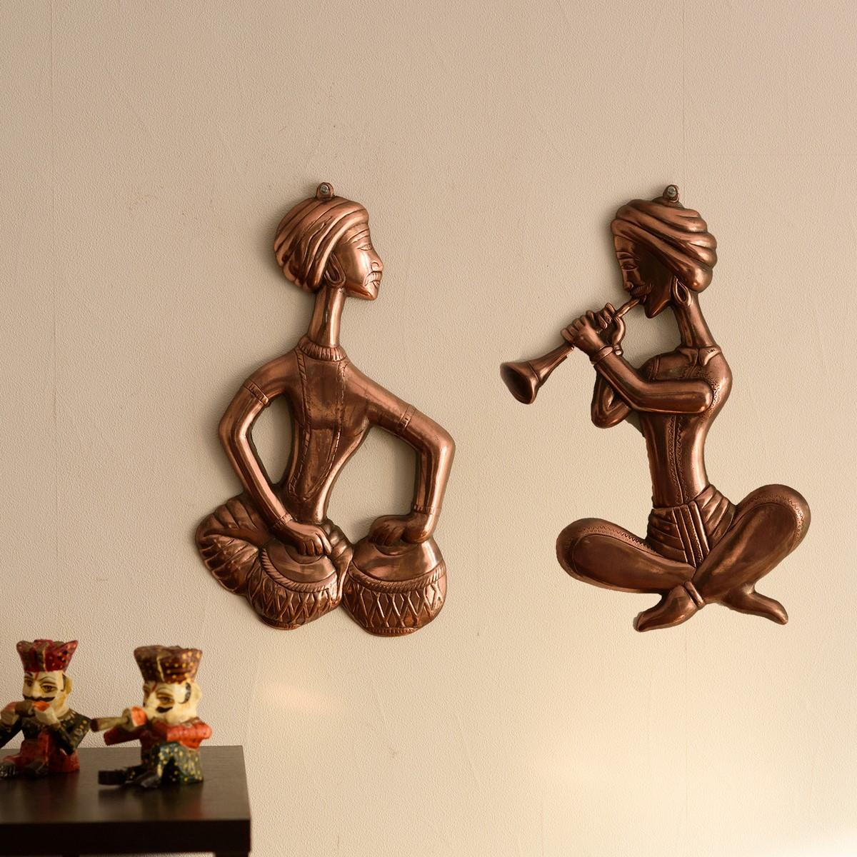 Set of 2 Musicians Metal Wall Hanging Indian Home Decor