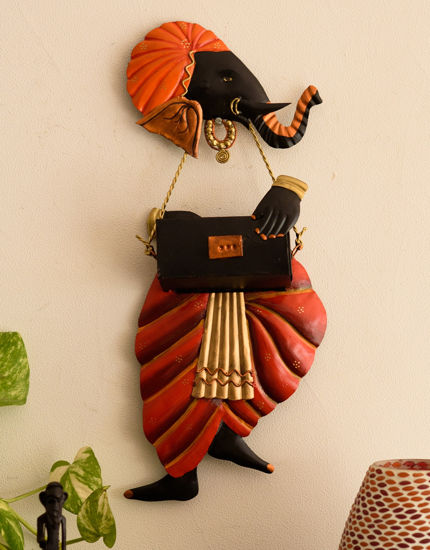 Lord Ganesha playing Harmonium Wall Hanging Indian Home Decor