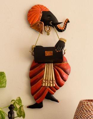 Lord Ganesha playing Harmonium Wall Hanging Indian Home Decor