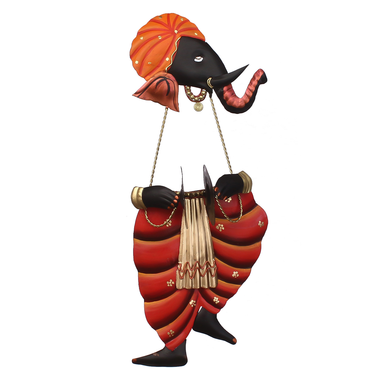 Lord Ganesha playing Manjeera Wall Hanging Indian Home Decor