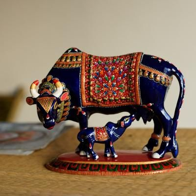 Meenakari Metal Black Cow And Calf Figurine Indian Home Decor