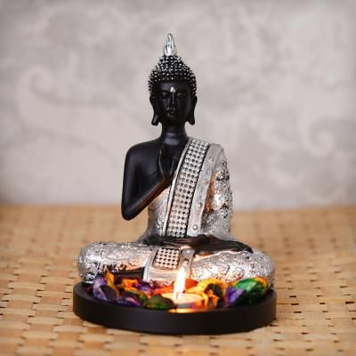 Handcrafted Meditating Blessing Silver Buddha with Wooden Base, Fragranced Petals and Tealight Indian Home Decor