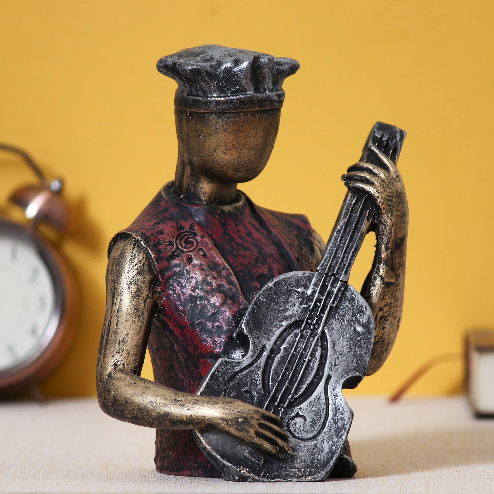 Man with Hat playing Guitar Decorative Statue Indian Home Decor