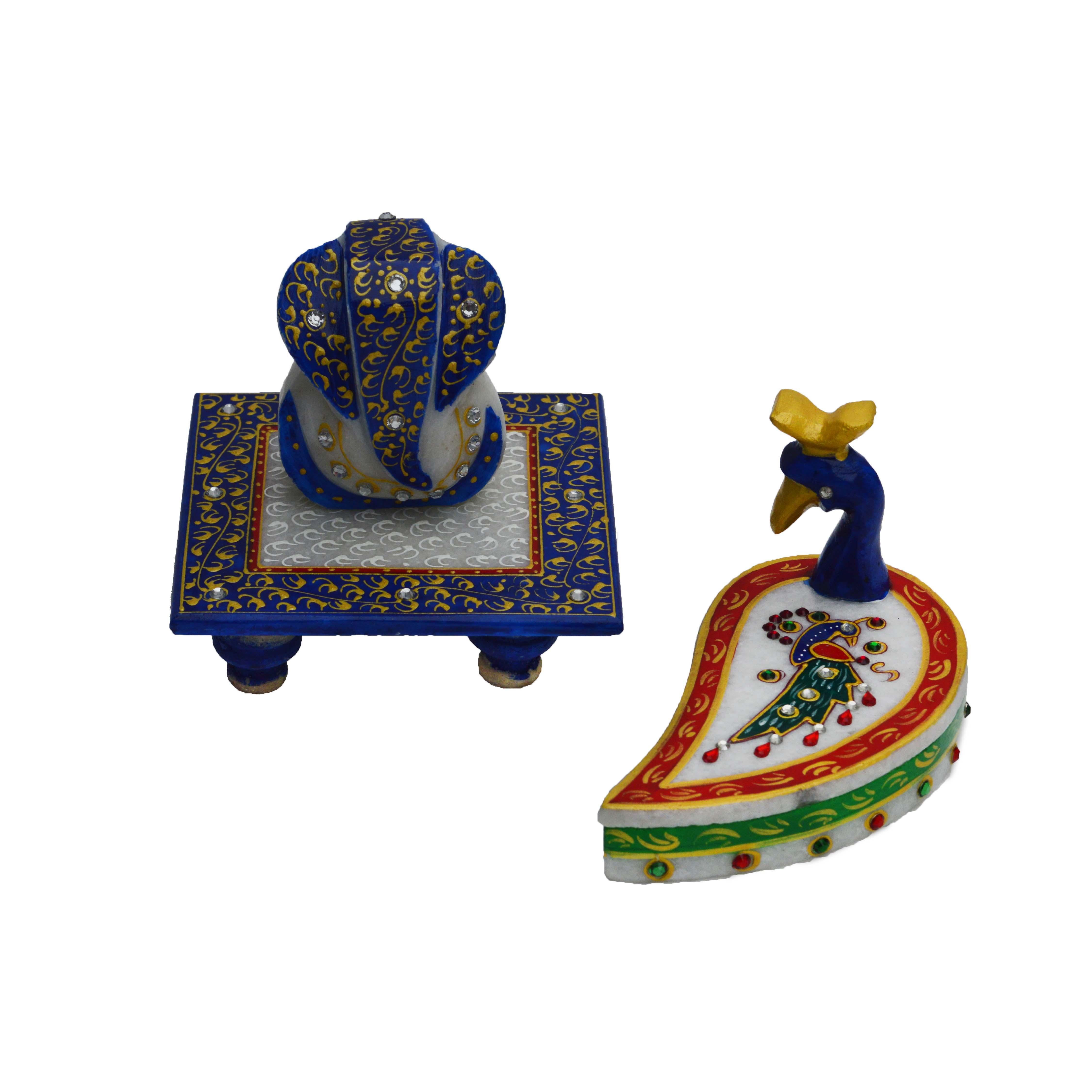 Set of Marble Ganesha Chowki and Mayur Chopra Indian Home Decor