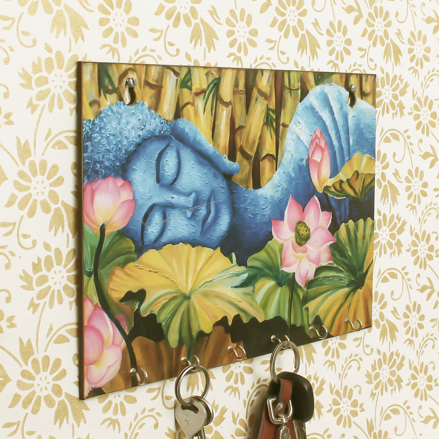 Lord Buddha Theme Wooden Key Holder with 6 Hooks Indian Home Decor