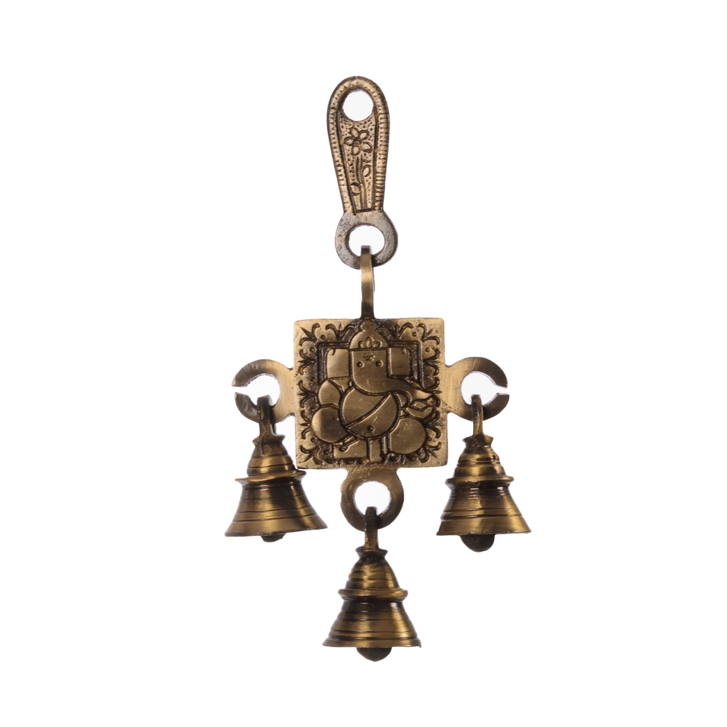 Lord Ganesha Brass Hanging Bells Indian Home Decor