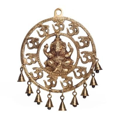 Om Ganesha Brass Wall Hanging With Bells Indian Home Decor