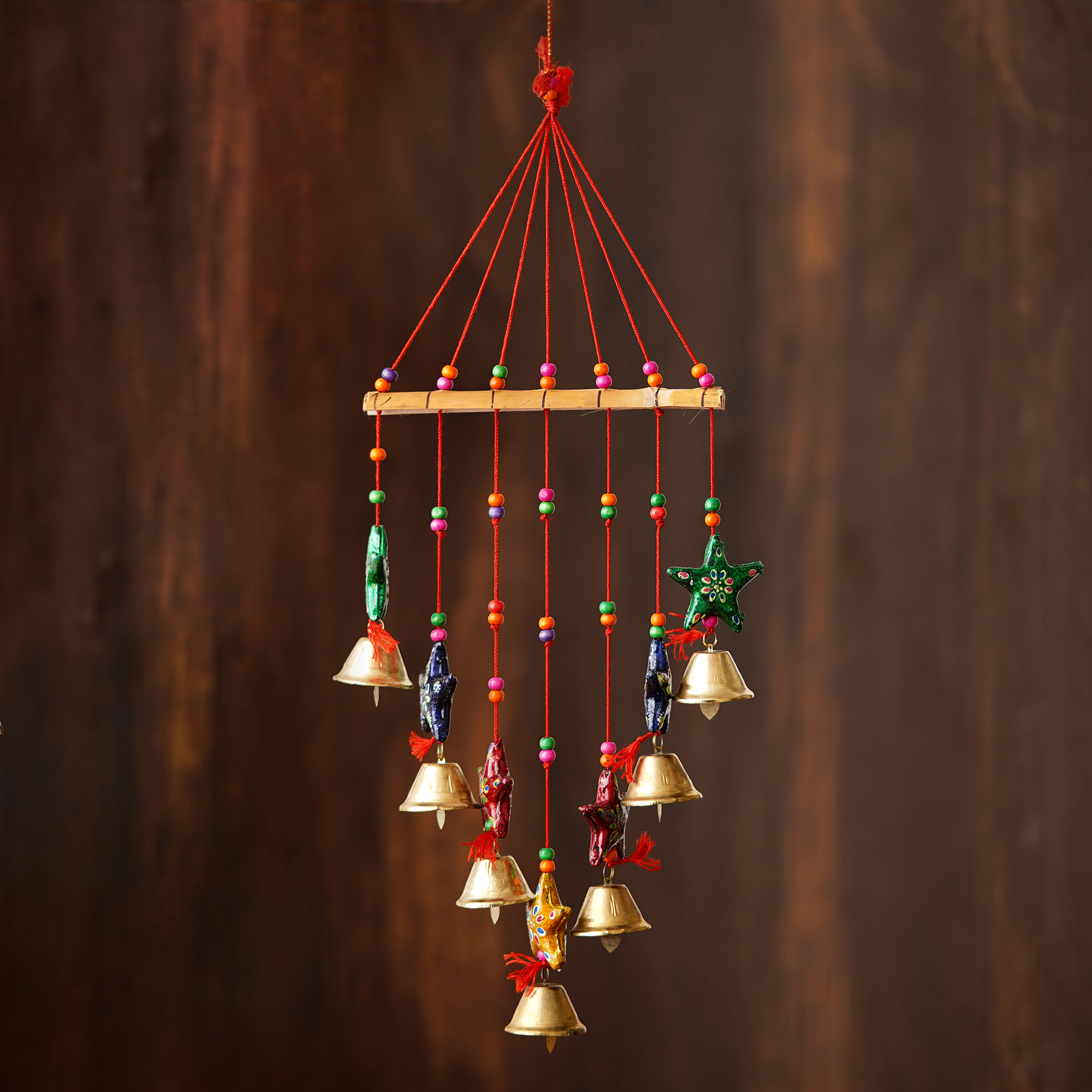 Handcrafted Decorative Colorful Stars Wall/Door/Window Hanging Bells Indian Home Decor