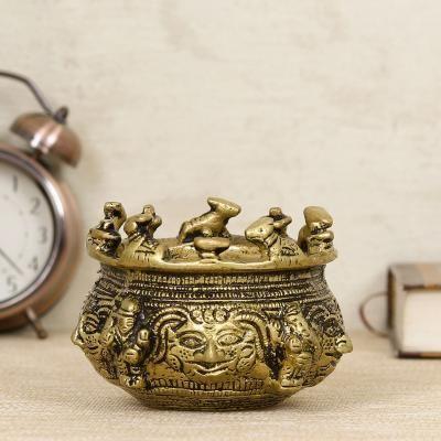 Brass Auspicious Nandi Kalash for Religious Offerings Indian Home Decor