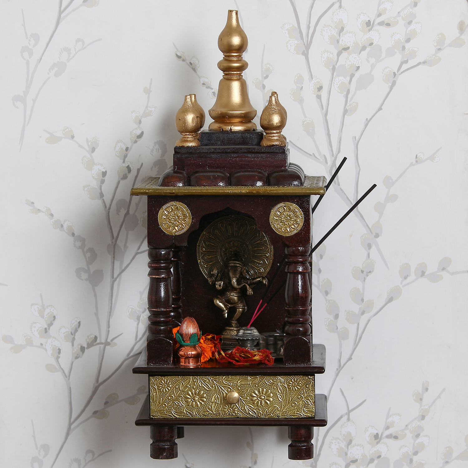 Decorative Premium Wooden Temple/Mandir with option to hang on wall Indian Home Decor