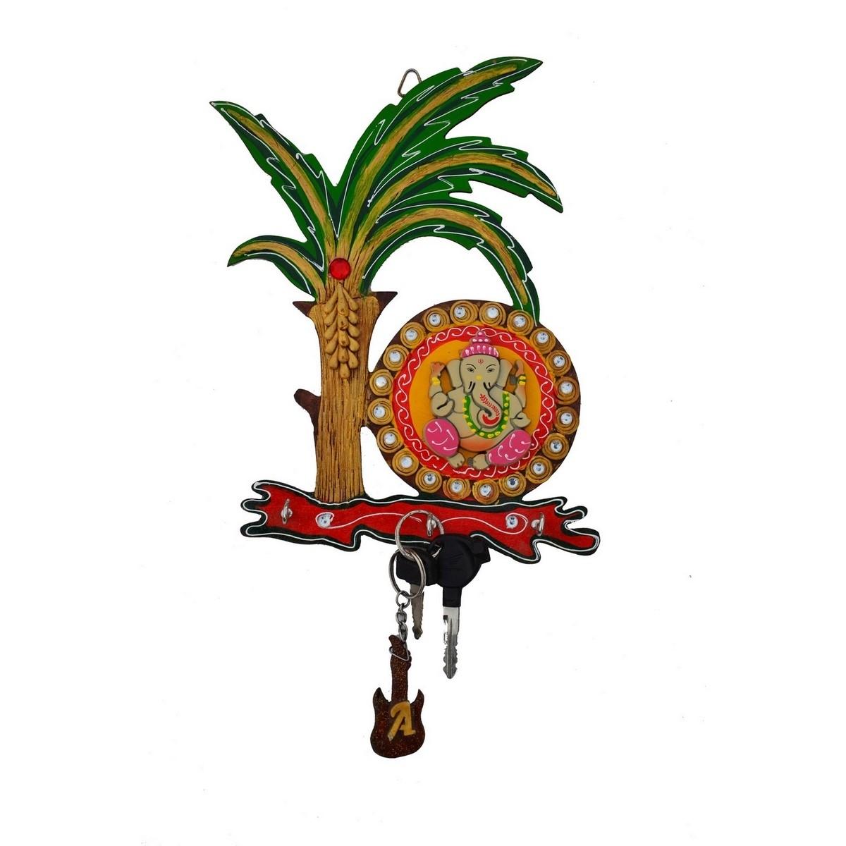 Papier-Mache Lord Ganesha under Tree Key Holder Indian Home Decor