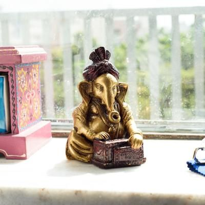 Brass Lord Ganesha Playing Harmonium Antique Showpiece Indian Home Decor