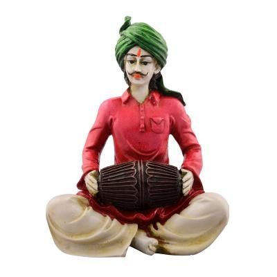 Polyresin Rajasthani Lady Playing Dholak Showpiece Indian Home Decor
