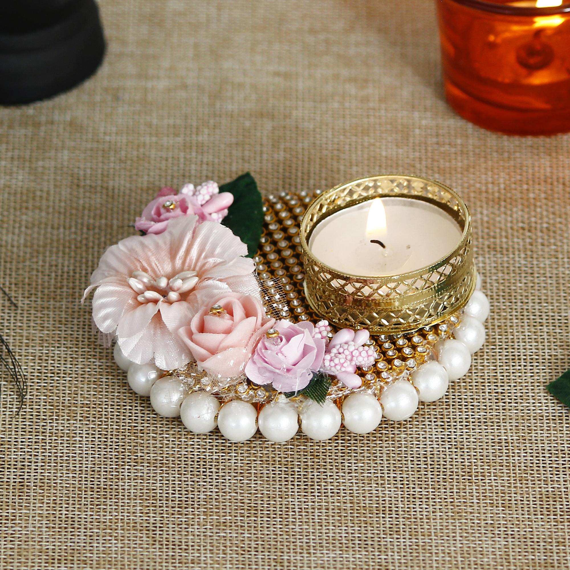 Decorative Handcrafted Pink Floral Tea Light Holder Indian Home Decor