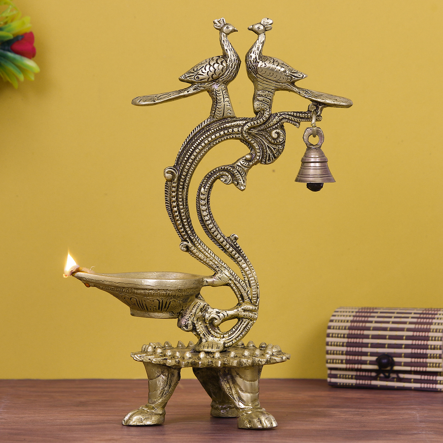 Antique Finish Decorative Handcrafted Brass Peocock Couple Diya with Bell and Stand Indian Home Decor