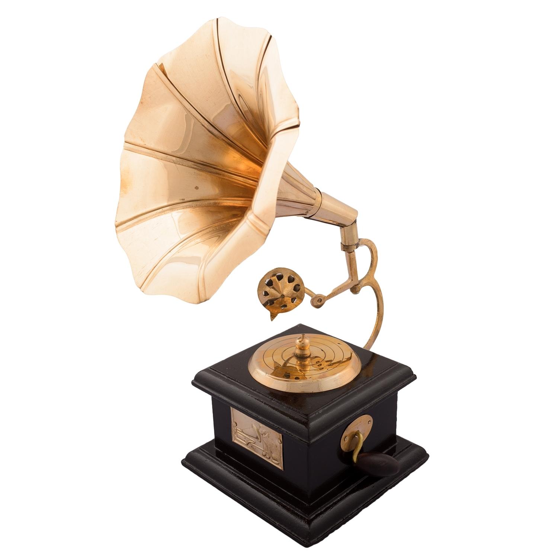 Brass Antique Music Decorative Gramophone Showpiece Indian Home Decor