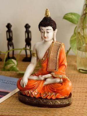 Fiber Meditating Buddha - Orange Indian Home Decor