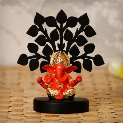 Gold Plated Orange Mukut Ganesha Decorative Showpiece with Wooden Tree for Home/Temple/Office/Car Dashboard Indian Home Decor