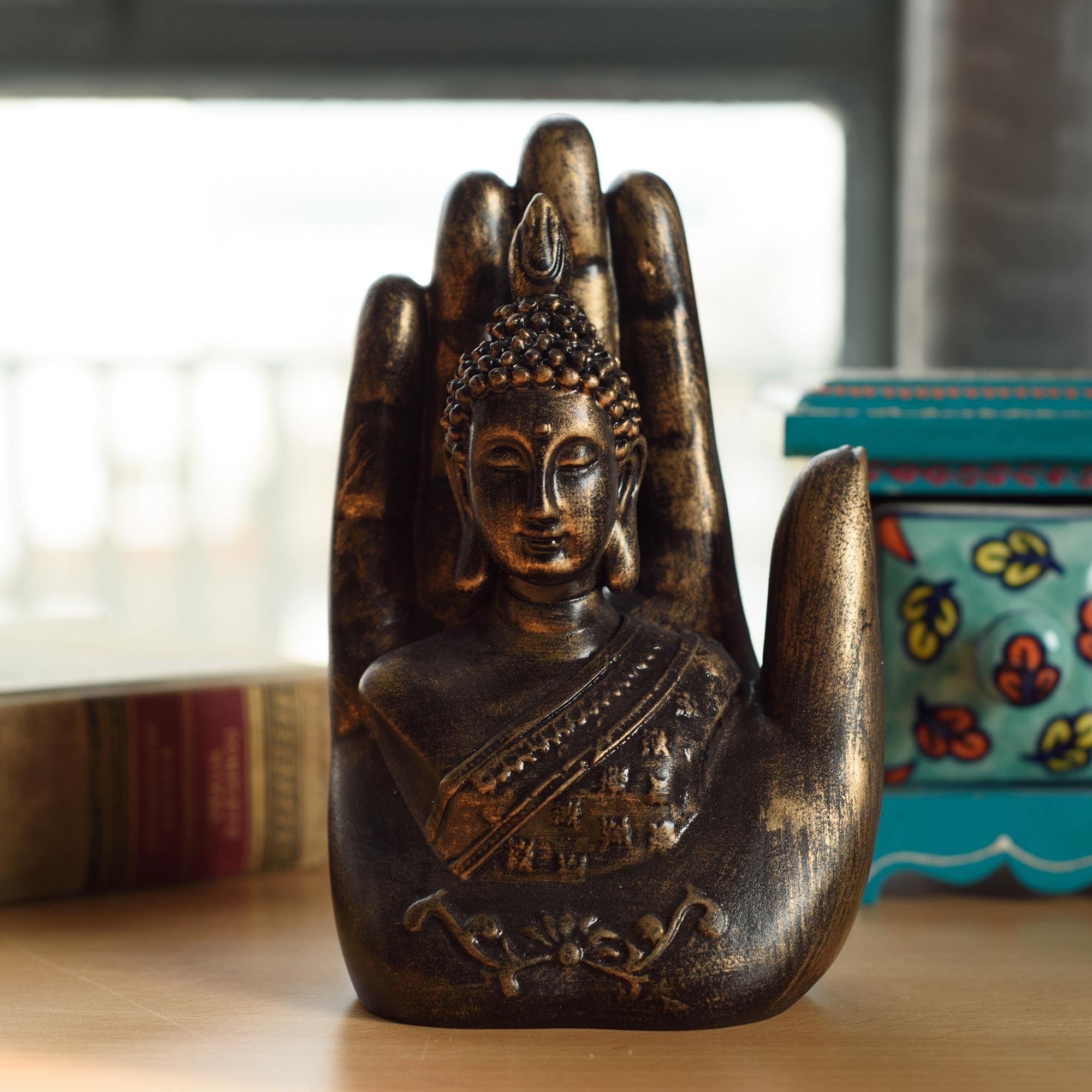 Decorative Palm Buddha Figurine Indian Home Decor