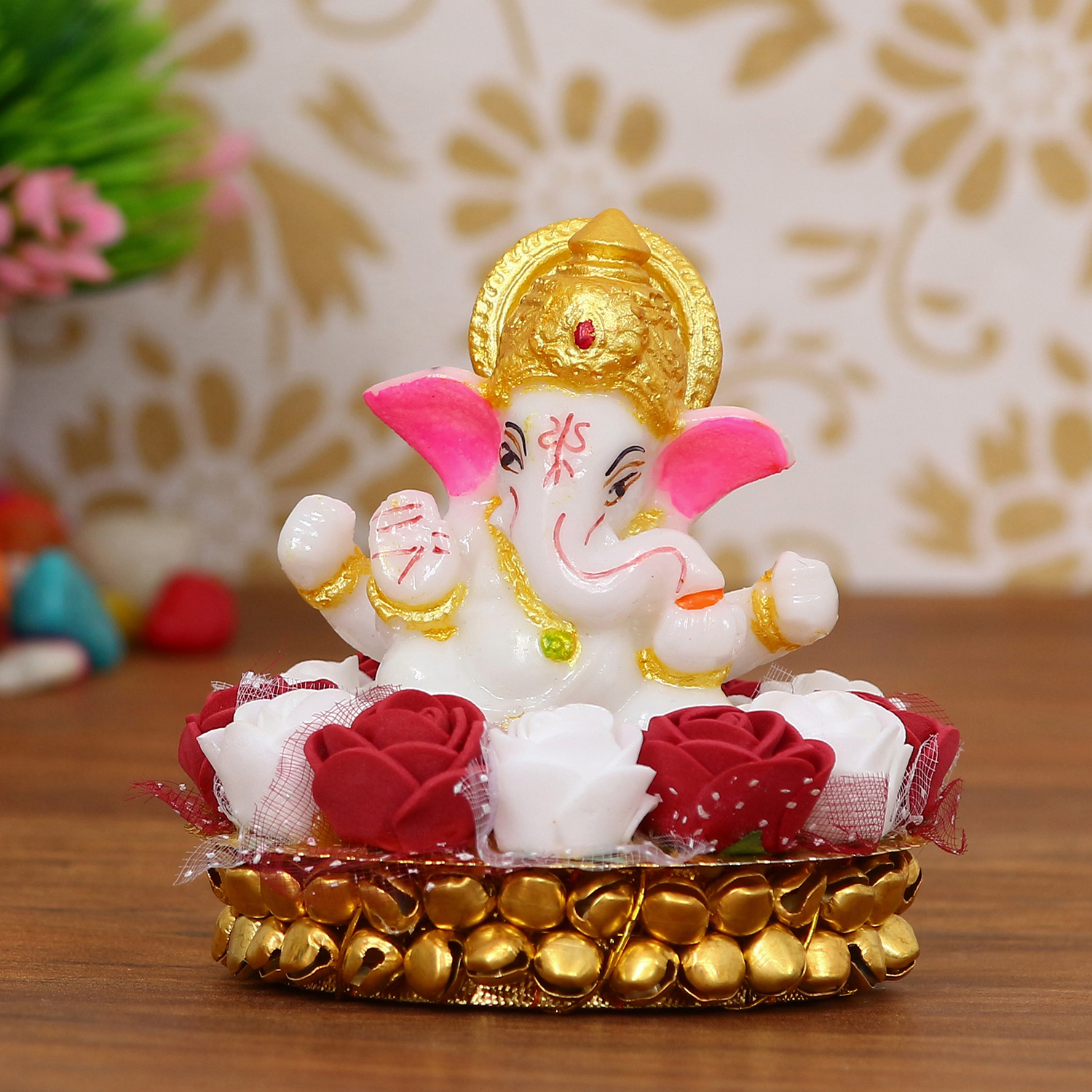 Lord Ganesha Idol on Decorative Handcrafted Plate with Red and White Flowers Indian Home Decor