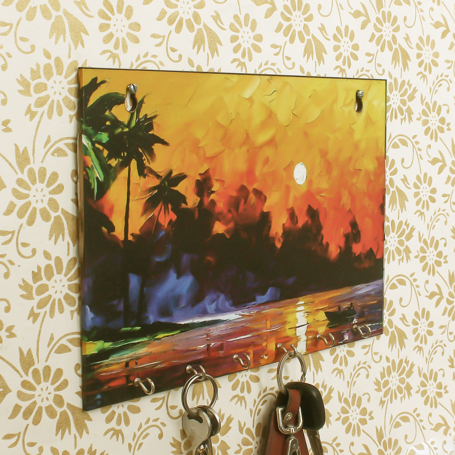 Naturre View Theme Wooden Key Holder with 6 Hooks Indian Home Decor