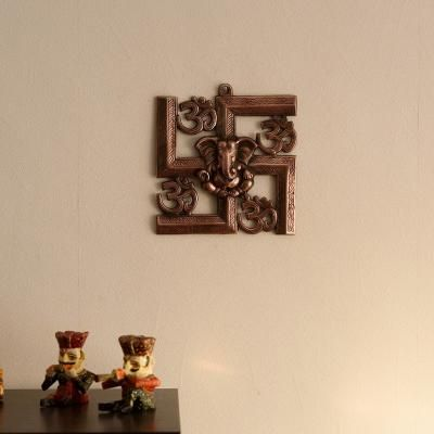 Lord Ganesha on Om Swastik Metal Wall Hanging Indian Home Decor