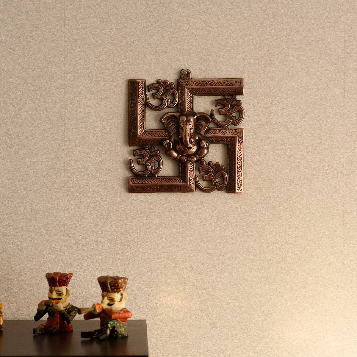 Lord Ganesha on Om Swastik Metal Wall Hanging Indian Home Decor