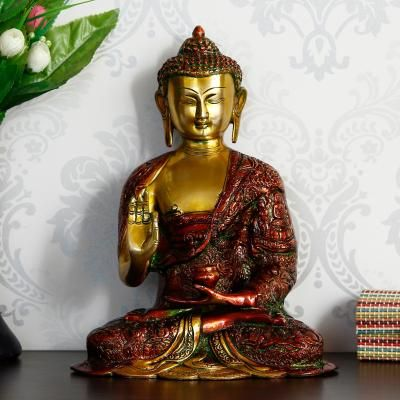 Red and Golden Premium Meditating Blessing Big Buddha Brass Antique Artifact Indian Home Decor
