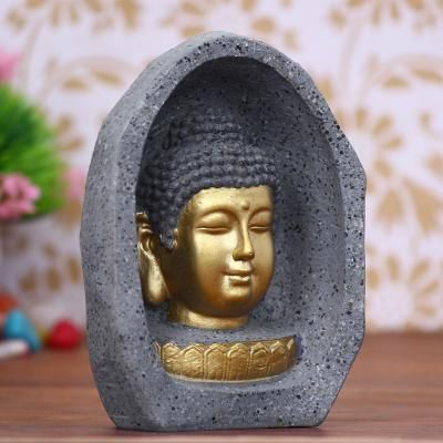 Peaceful Lord Buddha Golden Statue Indian Home Decor
