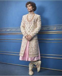 Embroidered Silk Cream Mens Sherwani