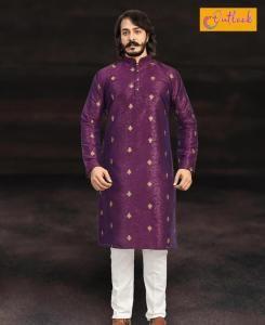 Embroidered Cotton Purple Mens Kurta Pajama