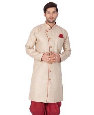 Cotton Light Brown Mens Sherwani