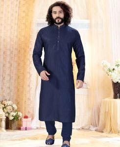 Cotton Navy Blue Mens Kurta Pajama