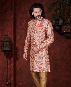 Printed Silk Red  ,  Cream Mens Sherwani