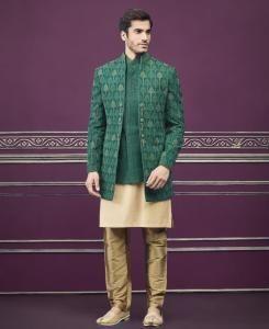 Embroidered Silk Green Mens Sherwani