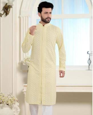 Embroidered Cotton Pista Light Yellow Mens Kurta Pajama