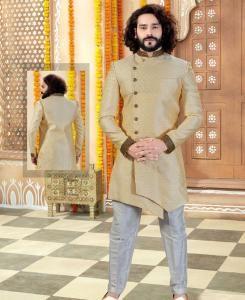 Silk Light Gold Mens Sherwani