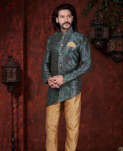 Printed Silk Dark Green Mens Sherwani