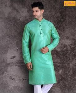 Cotton Dark Pista Green Mens Kurta Pajama
