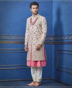 HandWorked Silk Light Pink Mens Sherwani