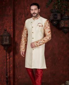 Printed Silk Light Cream Mens Sherwani