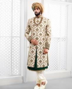 Embroidered Silk Off White Mens Sherwani