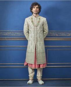 HandWorked Silk Pista Mens Sherwani