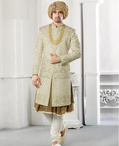 Embroidered Silk Pista Mens Sherwani