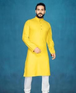 Cotton Yellow Mens Kurta Pajama