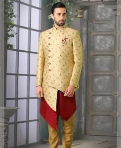 Silk Beige/Gold Mens Sherwani
