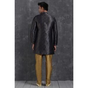 Silk Navy Blue Mens Sherwani