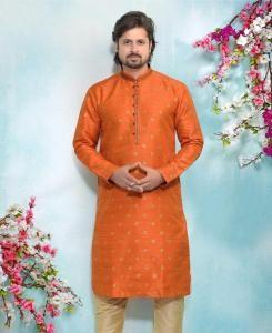 Silk Orange Mens Kurta Pajama