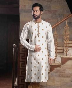 Silk White Mens Kurta Pajama