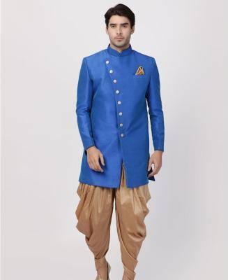 Silk Blue Mens Sherwani